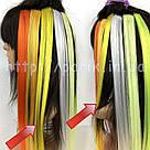 💛 Цветные пряди искусственных волос на заколках, желтые 💛, фото 7