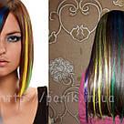 💛 Цветные пряди искусственных волос на заколках, желтые 💛, фото 9