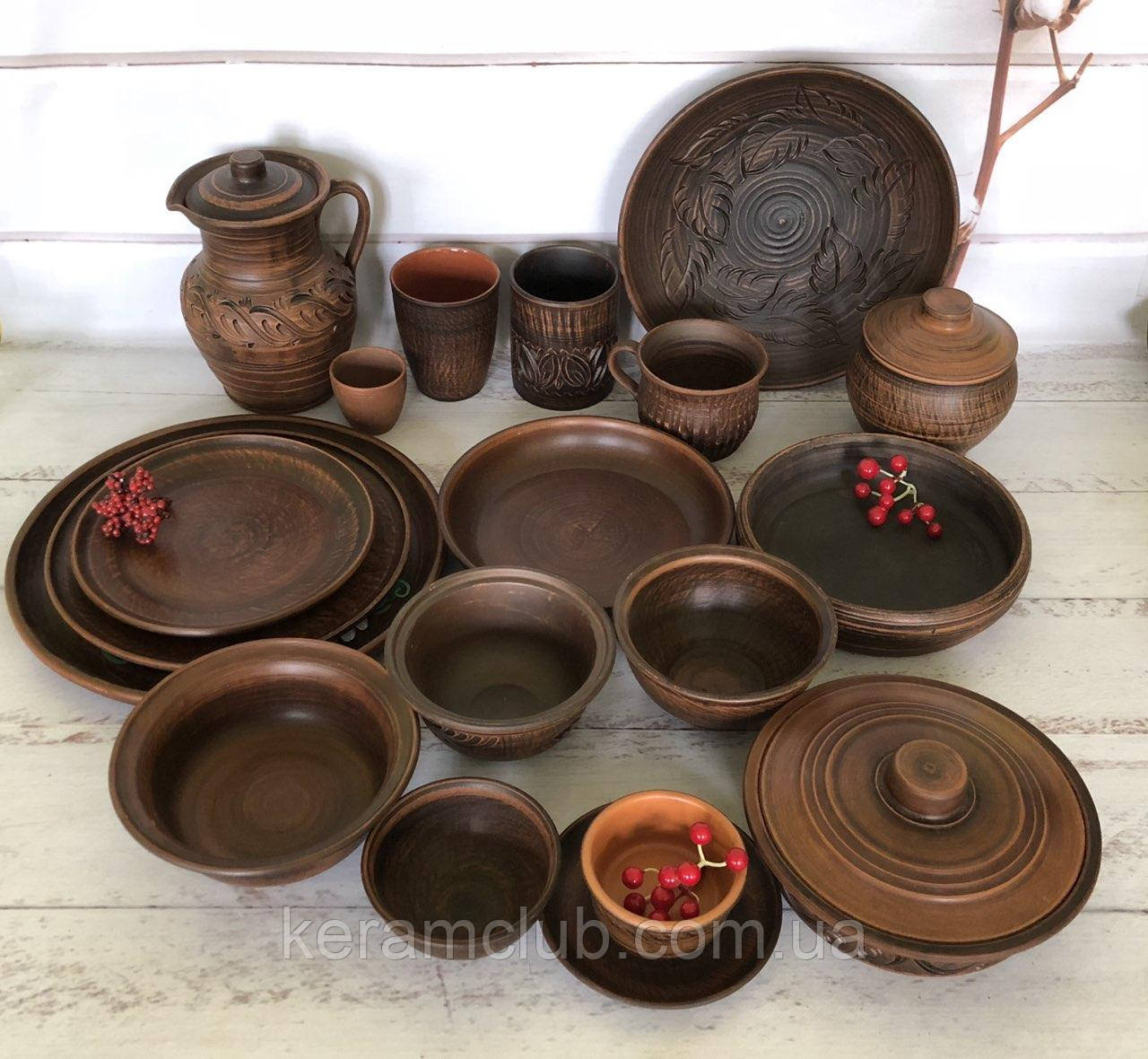 Пробный набор посуды из красной глины