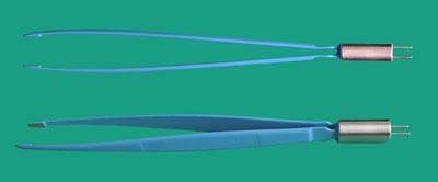 Пинцет биполярный прямой 200 мм, бранши закрыты 10х3 мм.