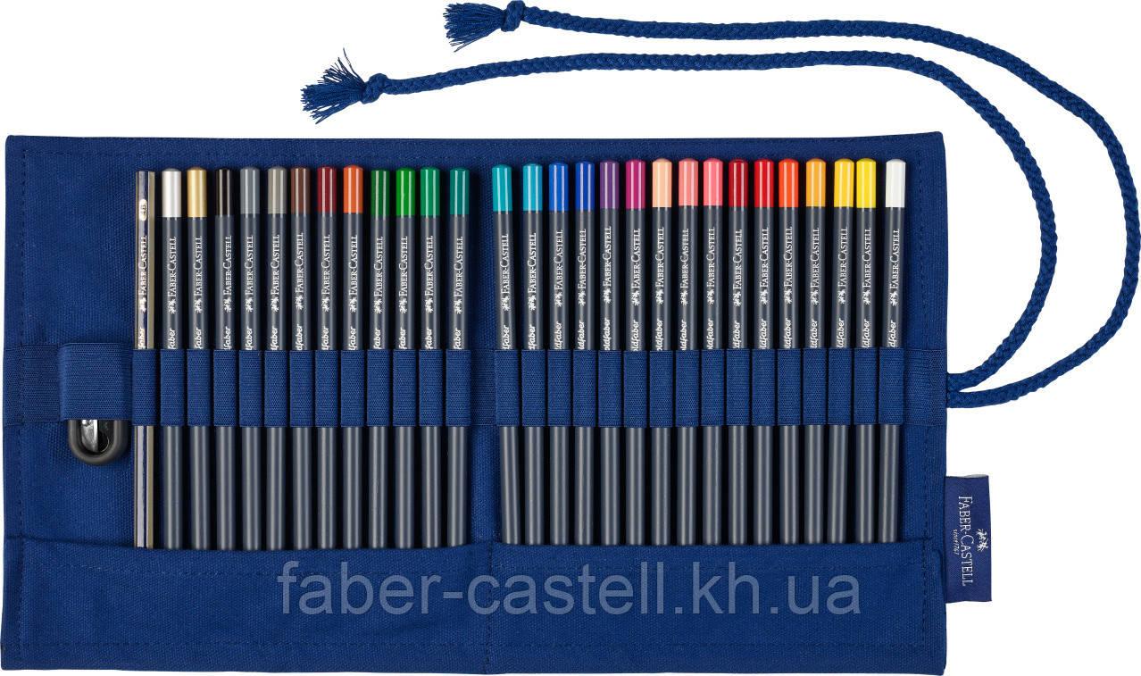 Цветные карандаши Faber-Castell Goldfaber в тканевом пенале 27 цветов с аксессуарами, 114752