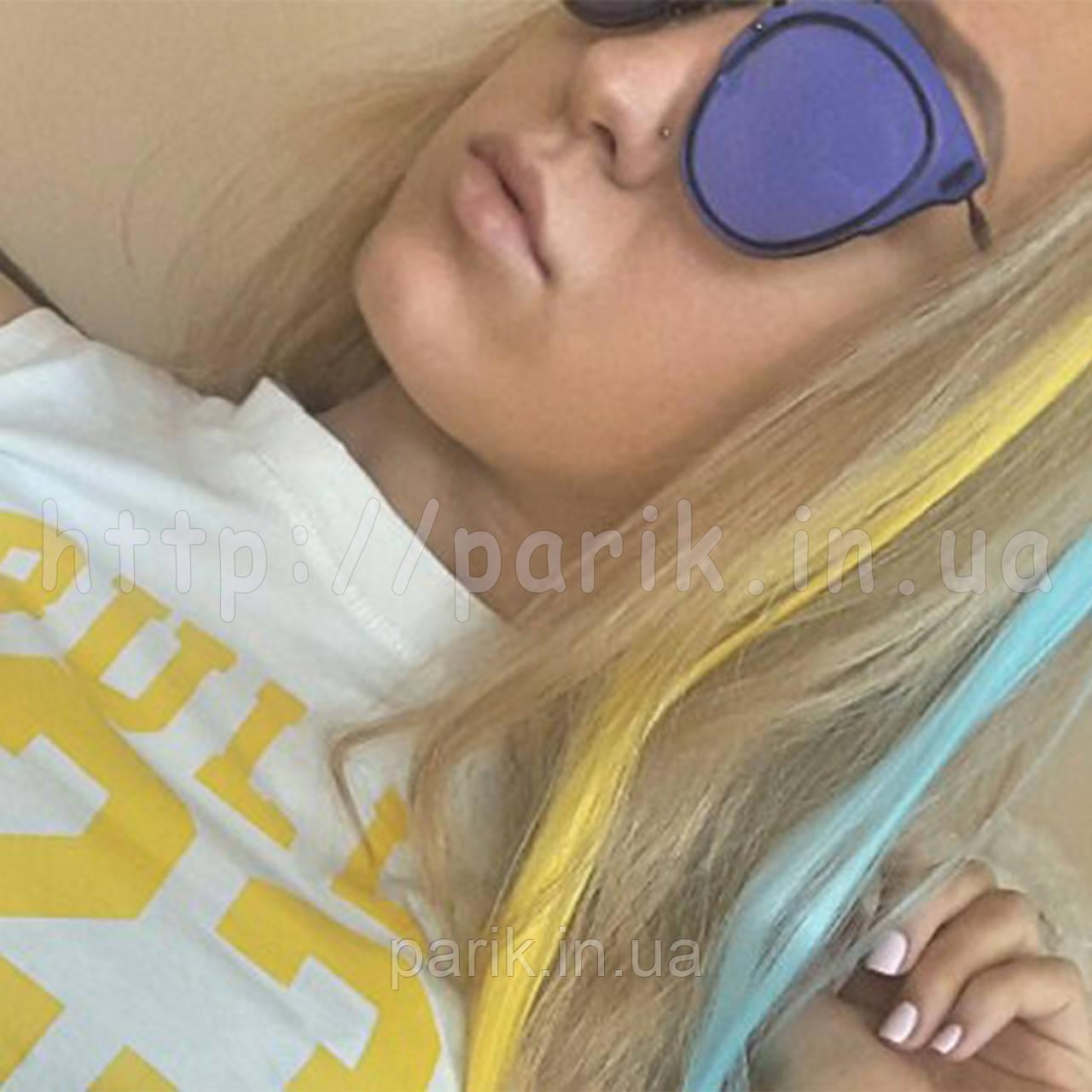 💛 Волосся на кліпсах заколках накладне жовте 💛