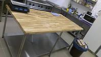 Стол для теста с деревянной столешницей 1000*600*850 нержавеющий (проф)