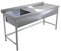 Стол с ванной моечной  Lissart WB-1000*600*850 односекционная нержавеющая (ч/сталь. каркас)