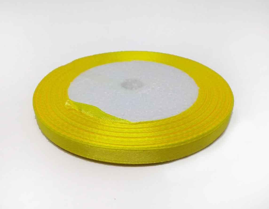 Лента атласная желтая (0.6см) 23 метра