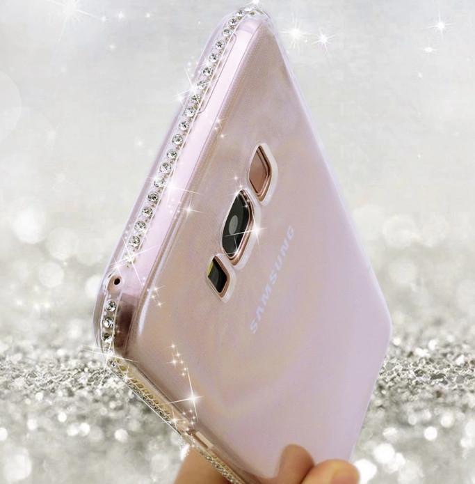 Силиконовый чехол с стразами для Samsung Galaxy S7 edge