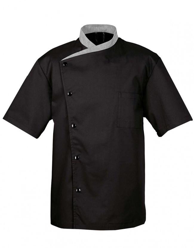 Китель поварской мужской черный с серым воротником «Чайка» Atteks - 00945