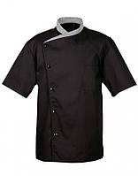 Китель повара черный с серым воротником «Чайка» Atteks - 00945