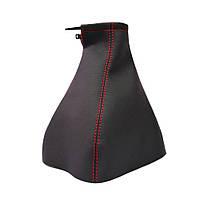 Чехол ручки КПП Chevrolet Aveo (T200) '02-08 (Черный кожзам/Красная нить), фото 1