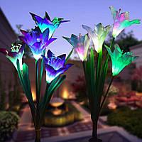 2шт. Солнечная Мощность 4 LED Лили Цветочные огни Многоцветные изменения На открытом воздухе Сад Патио ярлык лампы 1TopShop