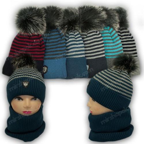 ОПТ Комплект - шапка з помпоном і шарф (хомут) для хлопчика, р. 50-52 (5шт/набір)