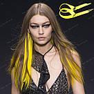 💛 Цветные термо пряди на заколках, ярко желтые 💛 , фото 7