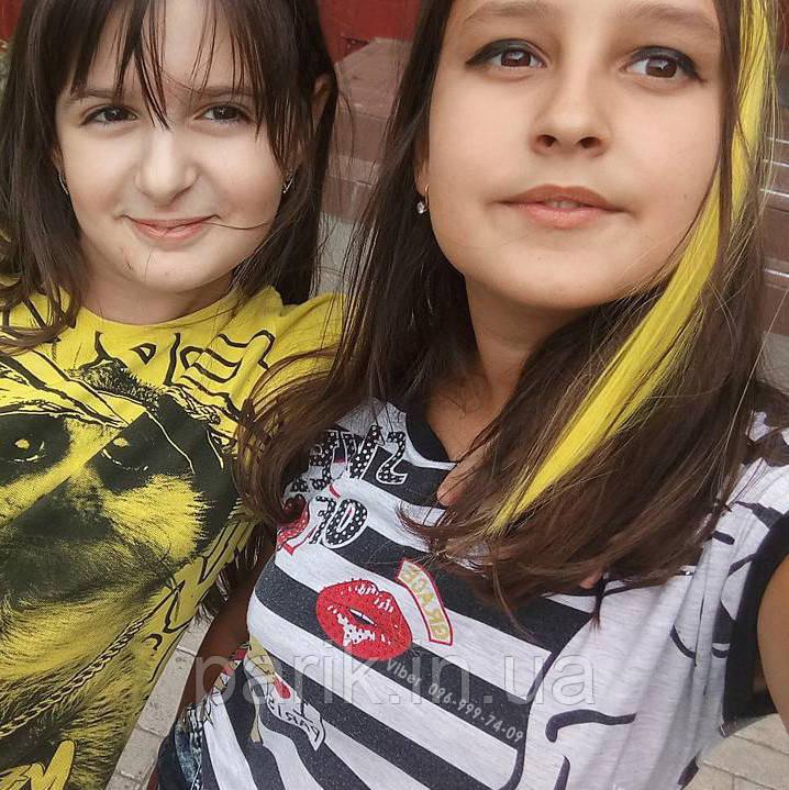 💛 Цветные волосы, пряди на заколках, ярко желтые 💛
