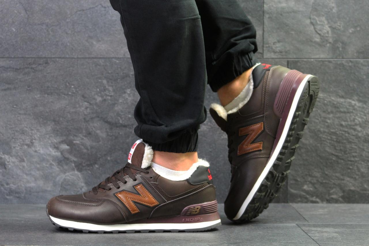 Мужские зимние кроссовки New Balance 574 коричневые с рыжим топ реплика