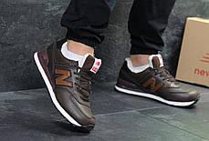 Мужские зимние кроссовки New Balance 574 коричневые с рыжим топ реплика, фото 3