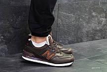 Мужские зимние кроссовки New Balance 574 коричневые с рыжим топ реплика, фото 2