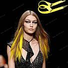 💛 Искусственные цветные пряди на заколках клипсах жёлтые 💛 , фото 7