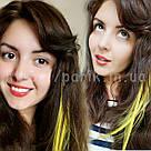 💛 Искусственные цветные пряди на заколках клипсах жёлтые 💛 , фото 8