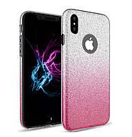 Чехол-накладка TOTO TPU Case Rose series Gradient 3 in 1 на IPhone X / 10 Silver / Pink