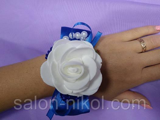 Браслет большая роза бархат синяя.