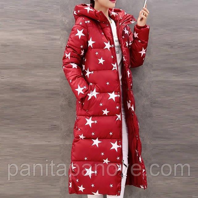 """Зимнее пальто. Парка длинная приталенная красная с принтом """"звезды"""""""