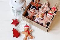 """Набор новогодних игрушек из фетра ручной работы """"Пряники человечки"""" 8шт"""