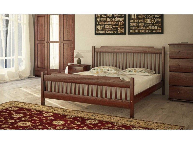 Ліжко двоспальне в спальню з натурального дерева Л-212 Скіф