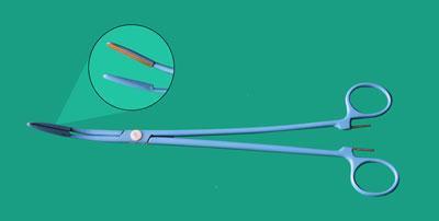 Зажим биполярный 270 мм бранши 25х3 мм