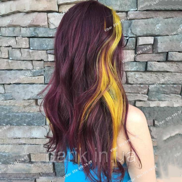 💛 Пряди цветные волос на заколках клипсах желтые 💛