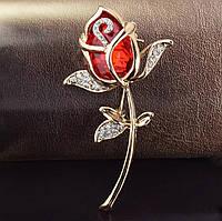 Брошь женская красная роза с камнями «Red rose» (красный)