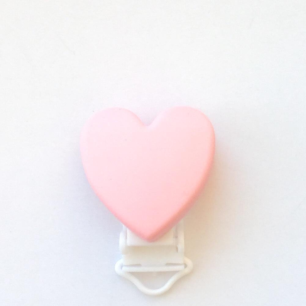 Клипса Сердце (роза кварц) силиконовая для пустышки