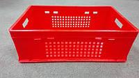 Ящик пластиковый 600х400х200 E2 красный перфорированный, фото 1