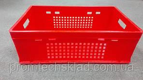 Ящик пластиковый 600х400х200 E2 красный перфорированный