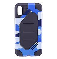 Бронированный противоударный TPU+PC чехол MOTOMO (Military) для IPhone X / 10 Сamouflage/Blue