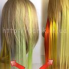 💛 Цветные пряди волос на заколках, желтые как у звёзд 💛 , фото 6