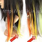 💛 Цветные  пряди волос на заколках зажимах, желтые 💛 , фото 8