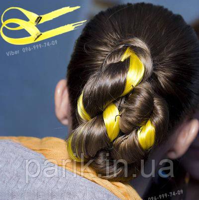 💛 Цветные  пряди волос на заколках зажимах, желтые 💛