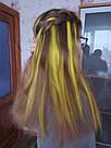 💛 Цветные пряди на заколках клипсах неоново желтые 💛 , фото 10