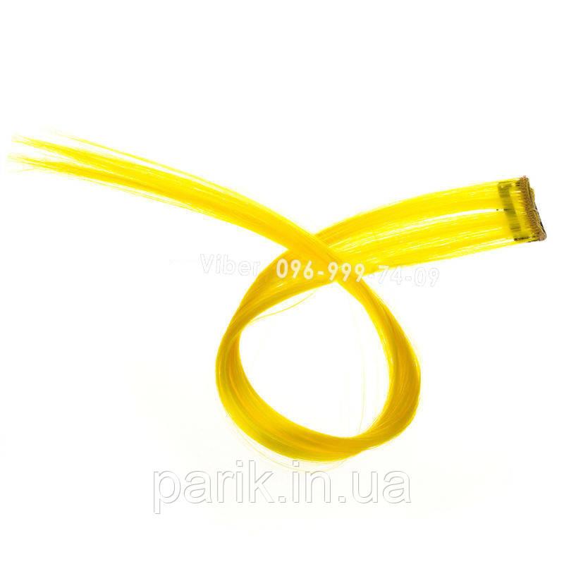 💛 Цветные пряди на заколках клипсах неоново желтые 💛