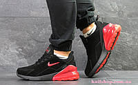 Мужские Зимние кроссовки Nike Air Max 270 Black Red (WNTR), Замша