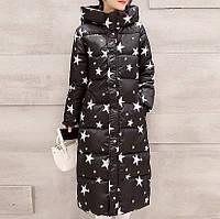 """Зимнее пальто. Парка длинная приталенная черная с принтом """"звезды"""", фото 1"""