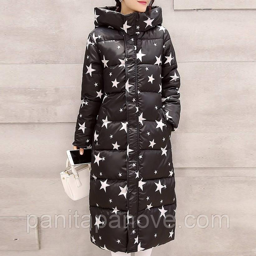 """Зимнее пальто. Парка длинная приталенная черная с принтом """"звезды"""""""