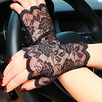 Перчатки кружевные черные без пальцев