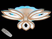 Светодиодная люстра с пультом-диммером и синей подсветкой белая1808-3