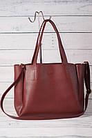 Женская сумка-шоппер, бордовый цвет
