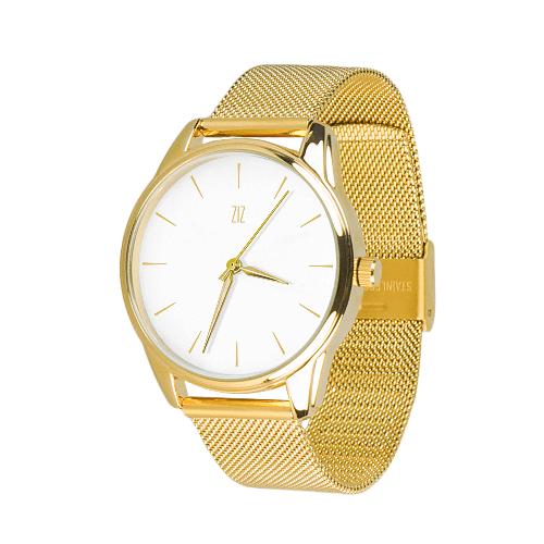 Дизайнерские металлические часы Золотым по белому (5016787)
