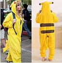 Пижама кигуруми Взрослые и Детские пикачу желтый, фото 4