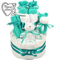 Торт з підгузників. Торт з памперсів, пінетки, шкарпетки, брязкальце, сплюшка, 0 - 2 місяці, м'ятний