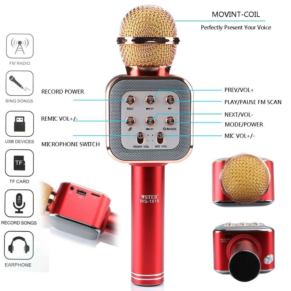 Бездротовий мікрофон караоке bluetooth WS1818 з чохлом, мікрофон з вбудованою колонкою