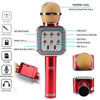 Бездротовий мікрофон караоке bluetooth WS1818 з чохлом, мікрофон з вбудованою колонкою, фото 1